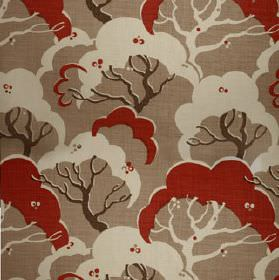Cloud Bay - Hybiscus - 100% linen fabric made in light brown, dark brown, white and red, featuring a simple, repeated tree print pattern