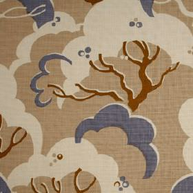 Cloud Bay - Dusk - Cloud style trees printed in off-white, latte, dusky blue and chestnut colours on 100% linen fabric