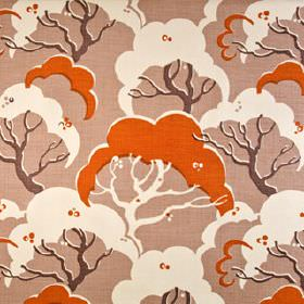 Cloud Bay - Burnt Orange - Fabric made in orange, white and purple-grey in two different shades from 100% linen, printed with cloud shaped t