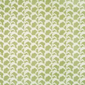 Clouds - Green - White and light green coloured linen union fabric featuring repeated cloud style patterns