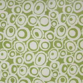 Agnes - Palm - Apple green and white 100% linen fabric, patterned with concentric circles and ovals in a retro style design