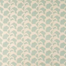 Clouds - Powder - Fabric made from linen union, printed with repeated cloud style patterns in pale shades of cream and blue