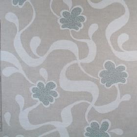 Cocoa Beach - Blue - Ribbons and stylised flowers printed on 100% linen fabric in three similar shades of light blue-grey