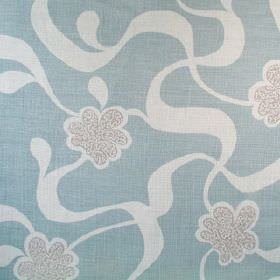 Cocoa Beach - Duck Egg Blue - Three different light shades of blue making up a pattern of ribbons and stylised flowers on fabric made from 1