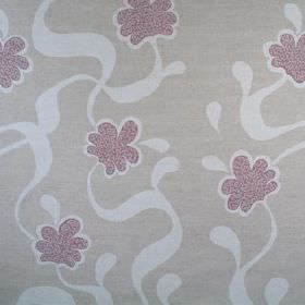 Cocoa Beach - Red - 100% linen fabric printed with ribbons and stylised flowers in purple, mauve and light purple-grey