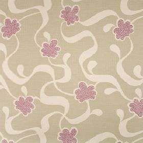 Cocoa Beach - Damson - Fabric made from purple, ash grey and very pale purple coloured 100% linen, printed with stylised flowers and ribbons