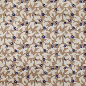 Doves - Bamboo - Fabric made from 100% linen in brown-grey, printed with white doves and dark navy blue coloured flowers