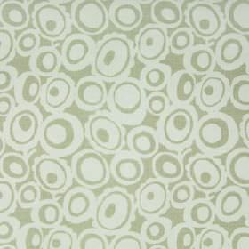 Agnes - Sage - Two pale shades of grey making up a retro style pattern of concentric circles and ovals on 100% linen fabric