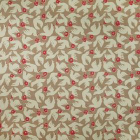 Doves - Husk - Raspberry coloured flowers and white doves printed on a brown 100% linen fabric background