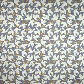 Doves - Smoke - 100% linen fabric printed with doves and flowers in denim blue, white and olive green