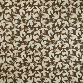 Doves - Khol - Doves and small flowers printed on 100% linen fabric in off-white, light grey and dark cocoa brown