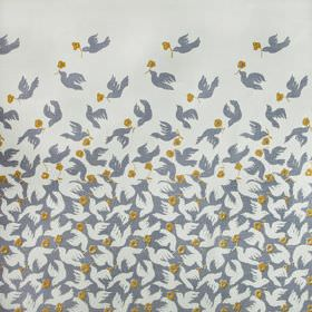 Doves - Smoke Fade - Small olive green flowers printed with scattered doves fading from dark to light grey on fabric made from 100% linen