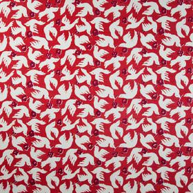Doves - Chillie - Bright scarlet coloured fabric made from 100% linen, printed with white doves and rich mulberry coloured flowers
