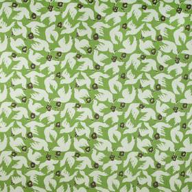 Doves - Palm - Very pale grey-white doves printed with charcoal coloured flowers on a grass green coloured 100% linen fabric background