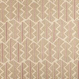 Feathers - Aubusson - A geometric style design made up of short, straight purple and stone coloured lines on putty coloured linen union fabr