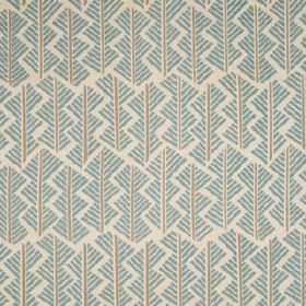 Feathers - Blue Clay - Pale grey linen union fabric, printed with a light blue and grey geometric style design made up of short, straight li