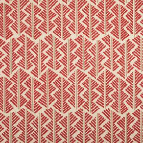 Feathers - Cochineal - Scarlet, grey and off-white coloured linen union fabric, printed with a short, straight line in a geometric style des