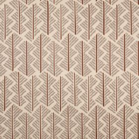 Feathers - Cocoa - Short, straight lines making up a geometric style pattern on linen union fabric in brown and two light shades of grey