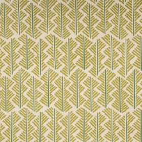 Feathers - Forest - Fabric made from olive green, blue-grey and putty coloured linen union, with a geometric style pattern of straight lines