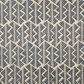 Feathers - Indigo - Linen union fabric printed with a geometric style pattern made up of short, straight lines in white, light grey and navy
