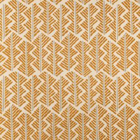 Feathers - Iron Ore - A golden yellow and grey geoemtric style design made up of short, straight lines, printed on off-white linen union fabri