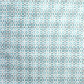 Hopscotch - Antibes Blue - Small squares making up a simple geometric pattern on linen union fabric in white and light shades of blue and pu