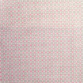 Hopscotch - Husk - White, light grey and hot pink making up a simple geometric pattern of small squares on fabric made from linen union
