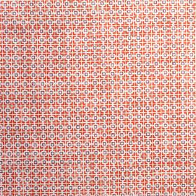 Hopscotch - Etruscan Red - Bright shades of red, purple and white making up a simple square geometric style pattern on fabric made from line