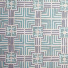 Jack In A Box - Antibes Blue - White and two different shades of blue making up a pattern of squares and straight lines on fabric made from