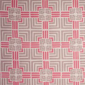 Jack In A Box - Husk - Strawberry pink and light grey squares and straight lines printed on a pale grey-white 100% linen fabric background