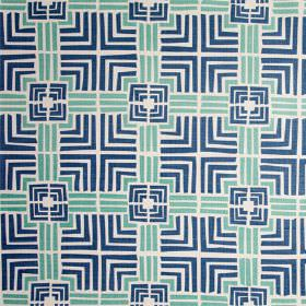 Jack In A Box - Chinese Green - 100% linen fabric printed with simple squares and straight lines in white, navy blue and a light shade of ma