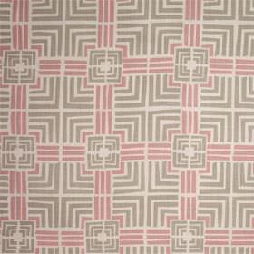 Jack In A Box - Pale Celadon - Simple squares and straight lines printed on 100% linen fabric in off-white and light shades of grey and pink