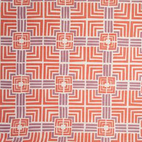 Jack In A Box - Etruscan Red - Coral and lilac coloured squares and straight lines printed on a white 100% linen fabric background