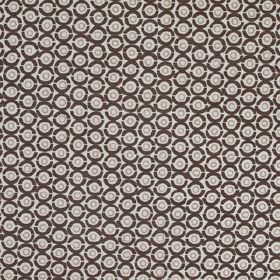 Junkanoo - Kohl - Linen union fabric printed with a small, repeated concentric circle design in various light and very dark shades of grey