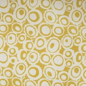 Agnes - Yellow - Fun, retro style fabric made from 100% linen, featuring a white and honey coloured design of concentric circles & ovals