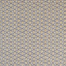 Junkanoo - Smoke - Olive green, pale grey and iron grey coloured concentric circles printed in a small, repeated design on linen union fabric