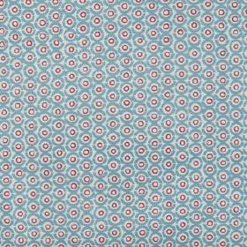 Junkanoo - Bermuda - Fabric made from linen union in raspberry and light shades of blue, printed with small, repeated, concentric circles