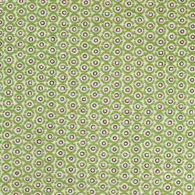Junkanoo - Palm - A small, repeated concentric circle design printed on linen union fabric in shades of grass green and bright Royal purple