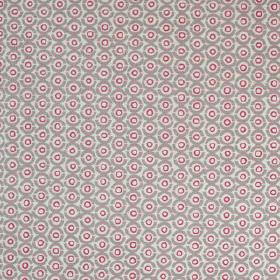 Junkanoo - Husk - Linen union fabric printed with a pale grey, iron grey and dark pink coloured design of small, repeated concentric circles