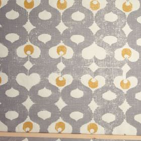 Madaket - Smoke - Curving, wavy lines and dots printed in iron grey and gold on a white 100% linen fabric background