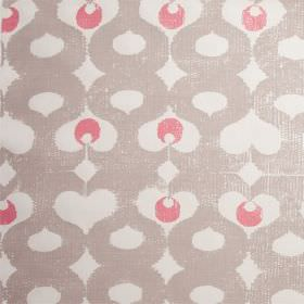 Madaket - Husk - Hot pink and two different light shades of grey making up a curving, wavy line and dot pattern on 100% linen fabric