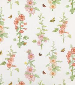 Althea - Multi - Stalks of foxglove style flowers printed in red, pink and light orange with green leaves on white linen fabric