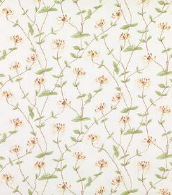 Eliza - White - Linen fabric with a tiny light yellow floral print, very narrow grey vines and delicate light green coloured leaves