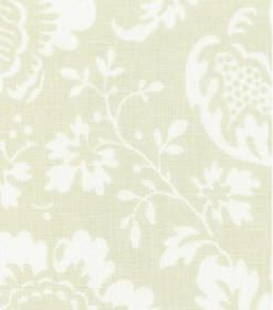 Ellen - Cream - Subtly patterned fabric made from linen, with large flowers and leaves in white and a beige-cream colour