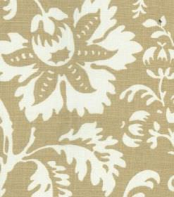 Ellen - Beige - A large, white pattern of flowers and leaves printed on a background of linen fabric which resembles straw