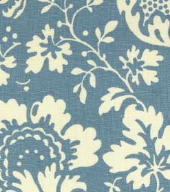 Ellen - Green Turquoise-Blue - Cream flowers and leaves printed as a large pattern on denim blue coloured linen fabric