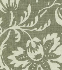 Ellen - Dark Green - Cream and dusky green woven linen fabric, printed with a large pattern of flowers and leaves in a flat cream colour