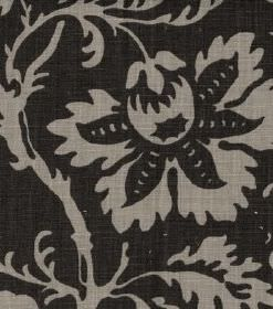 Ellen - Brown - Grey and charcoal coloured linen fabric featuring a large pattern of flowers and leaves