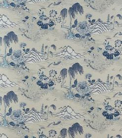 Kiriko - Dark Blue - Navy blue Oriental style landscapes printed on grey linen fabric