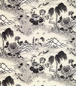 Kiriko - Dark Grey - Off-white linen fabric printed with a repeated pattern of black and grey flowers and Oriental style landscapes